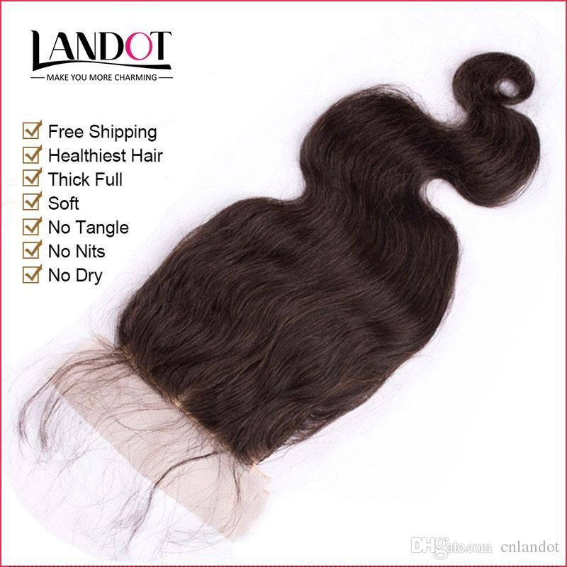 Монгольский шелк база закрытия тела волна Девы человеческих волос ТОП кружева закрытия бесплатно / средний / 3 Часть естественный цвет Dyeable скрытые узлы 4x4Inch 7A