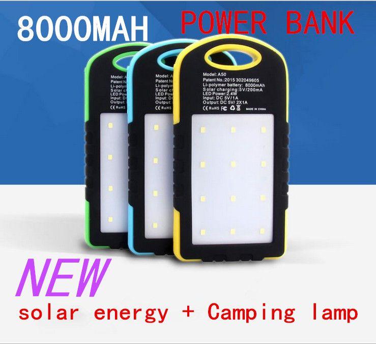 wholesale NEW2015 hot sale 8000 mAh Cargador Portatil Solar Power LED camping lantern Bateria Pack Energy Bank Sun Battery Charger Powerbank