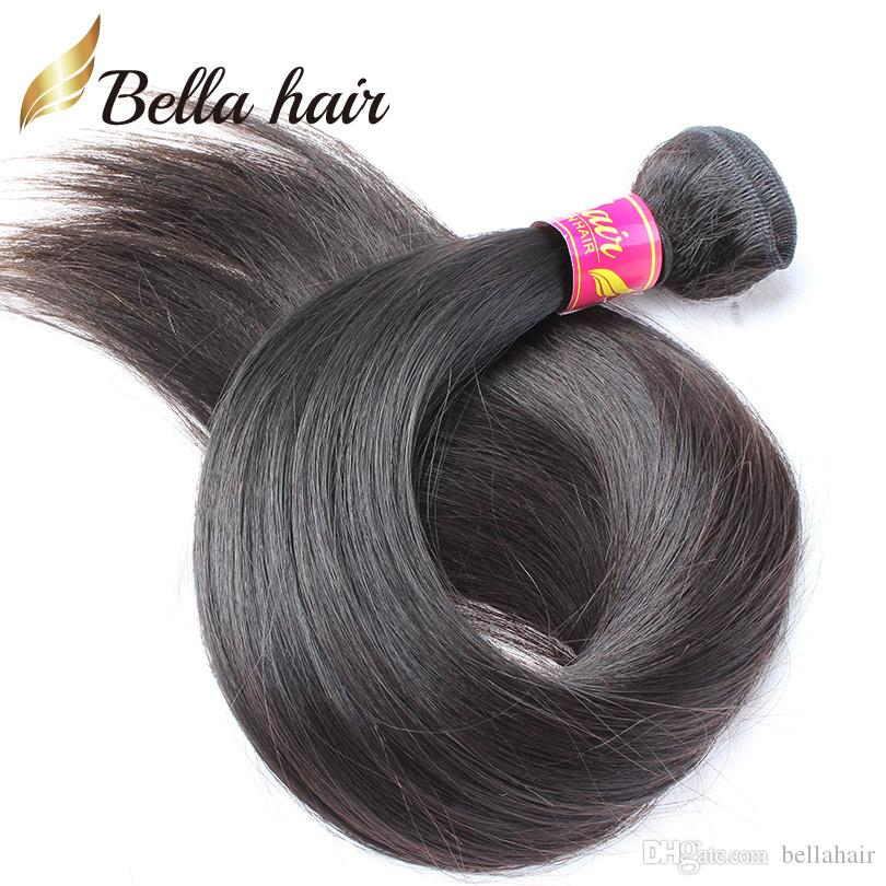 100%ブラジルのバージンヘアエクステンション天然髪の束ストレートヘアウィーズ3個/ロットダブルサイド緯ごDHLナチュラルカラーBellahair
