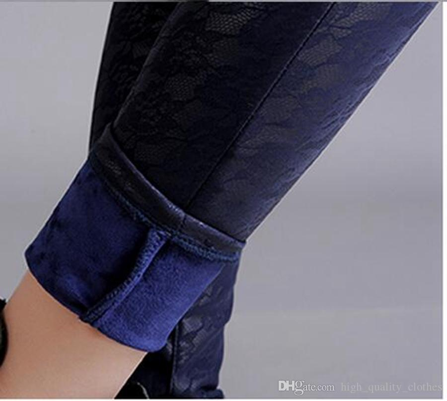 Nouvel défilé de mode hivernale Han édition loisirs femmes mince taille élastique avec velours dans un petit pantalon de cuir crayon serré. S - 4xl
