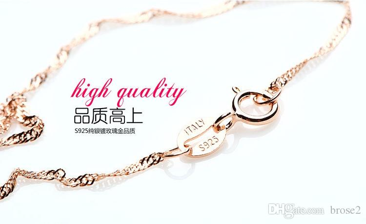 18K rose gold plated 18inch 1.2mm wave chain key pendant retro jewelry factory wholesale simple accessories valentines to send girlfriend