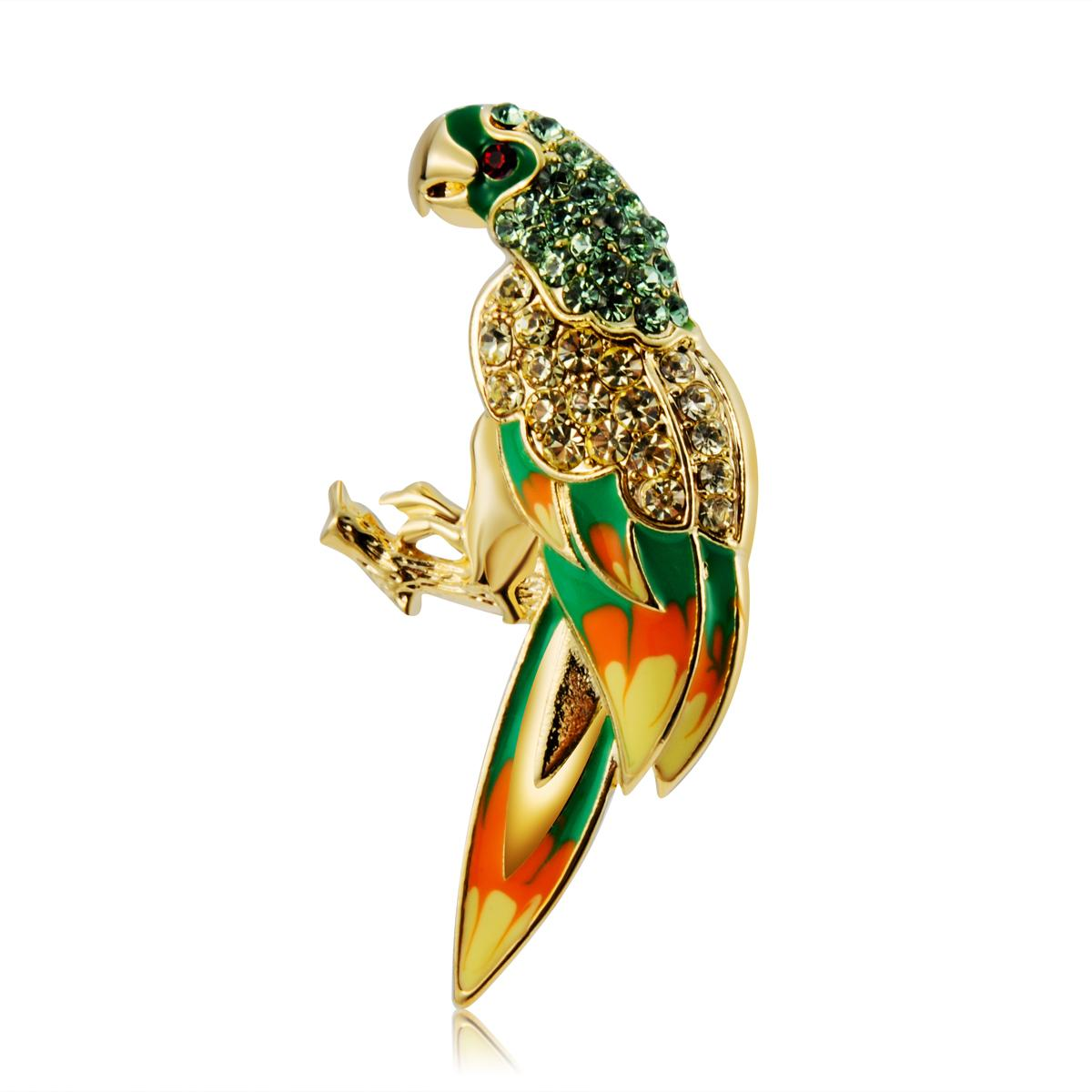 2016 Retail Hot Selling Neoglory Jewelry 18K Gold Plated With Lovely Animal Parrot Crystal Brooches BC-0001