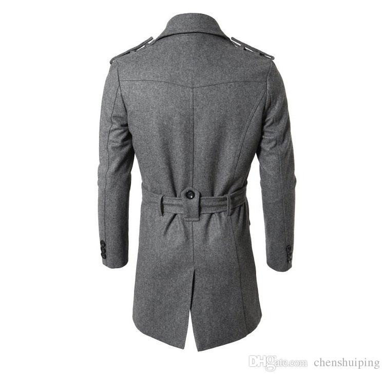 New Fashion Men's Winter Jacket Long Mens Coat For Men Wool blend Trench Outerwear