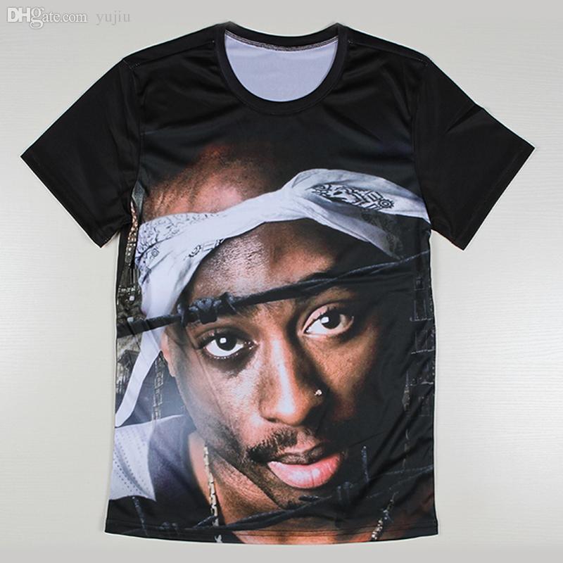88cbc7ad58608 Atacado-Frete Grátis 2pac Tupac Shakur Camisas Homens Hippie Camisas De  Algodão O Pescoço 3D Personagem T-shirt Homem Tops Tees Euro Tamanho Camisas