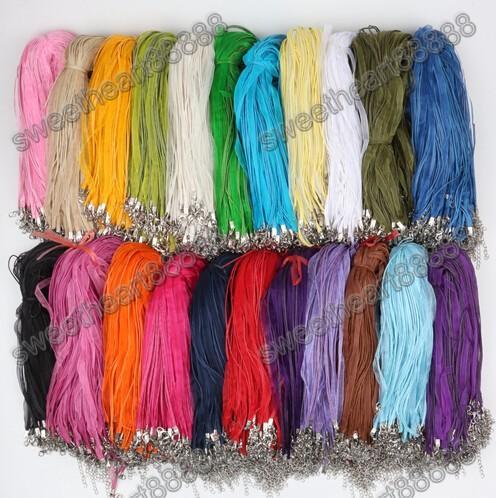 2017 mode 100 stks / partij 22 kleuren organza voile lint kettingen hangers kettingen 3 + 1 18