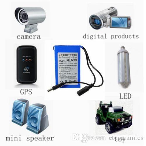 Pack de batteries rechargeables DC 12V 6800mAh Li-po batterie pour caméra de vidéosurveillance, éclairage LED, DVD, PDA équipement médical jouet GPS US Plug UE disponible