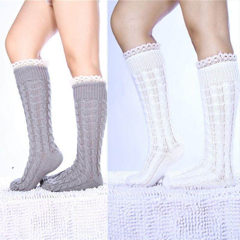 Compre Knit Infinity Pattern Calcetines De Encaje Boot Loose Socks ...