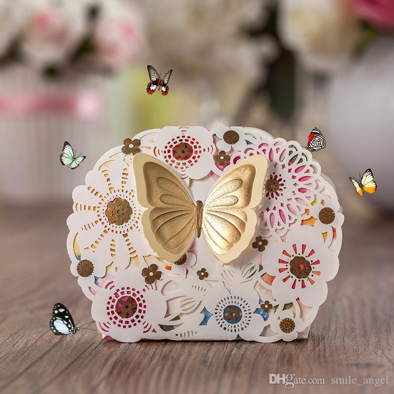 New Elegant Wedding Favor Boxes With Beautiful Lace Laser Cut Flora