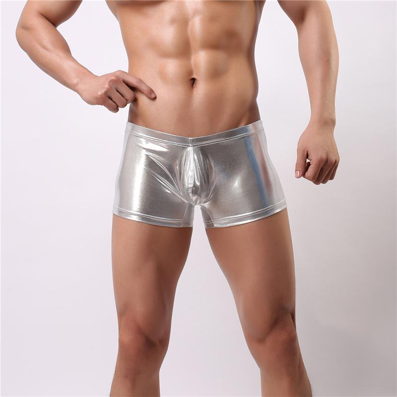b46f98d41 2019 Mens Underwear Boxer Sexy Patent Faxu Leather Shining Mens Penis Pouch  Male Panties Swimwear Underpants Tight Boxer Shorts Men Cueca From Hsaiiou