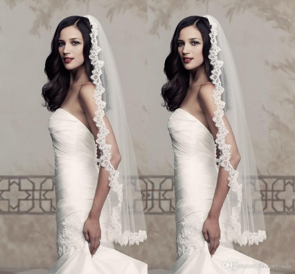2016 Ivory Bridal Veils Wedding Accessories Tulle Edge Lace Applique One Layer Chapel Length Pleats Ruched Veil