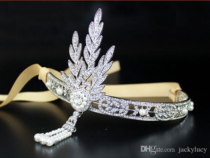 New Hot Upscale Wedding Bridal Hair Tiara Crown Headpiece Alloy Rhinestone Pearl Headband Silver Hair Jewellery Wedding Dress Accessories