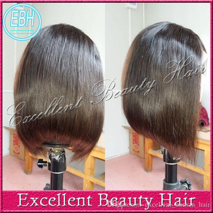 Glueless 100% brazilian straight bob short cut human hair lace front wigs & full lace wigs bob style for black women