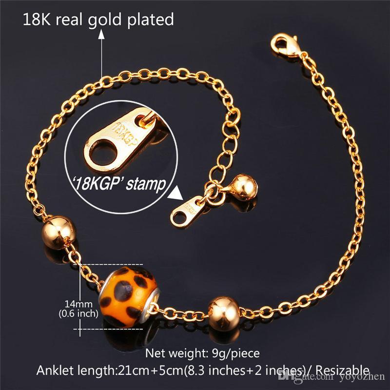 Женщины Sexy Leopard печати лодыжки цепи 18k настоящее золото / платина покрытием летние ноги ювелирные изделия девушки браслеты браслеты