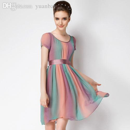 Wholesale High Quality 2015 New Temperament Short Sleeve Rainbow Color Chiffon  Party Dress Women Plus Size Long Casual Dresses  374 Party Long Dresses For  ... bacb858a72db