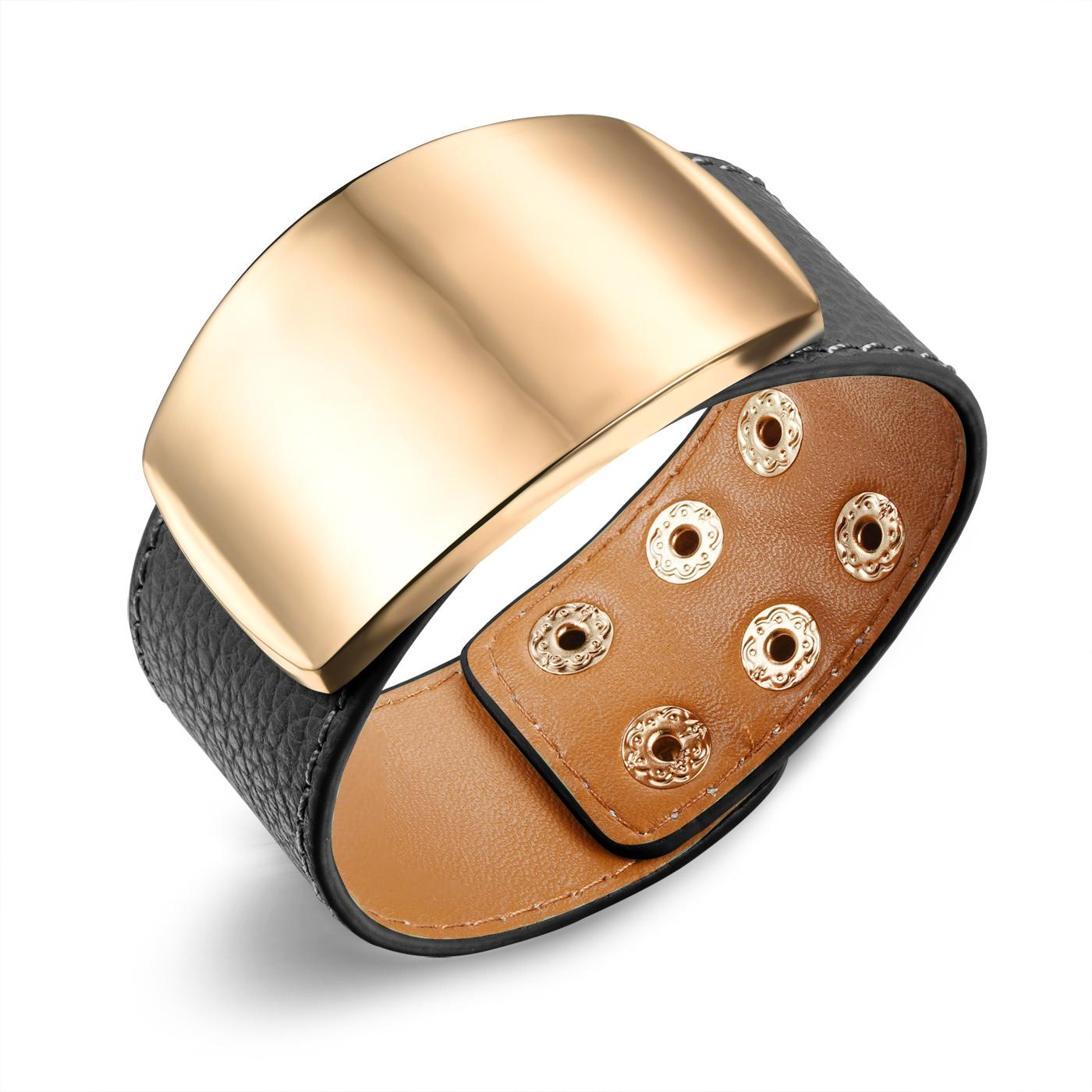 Womens Wide Leather Bracelet With Gold Plated Charm Accessories