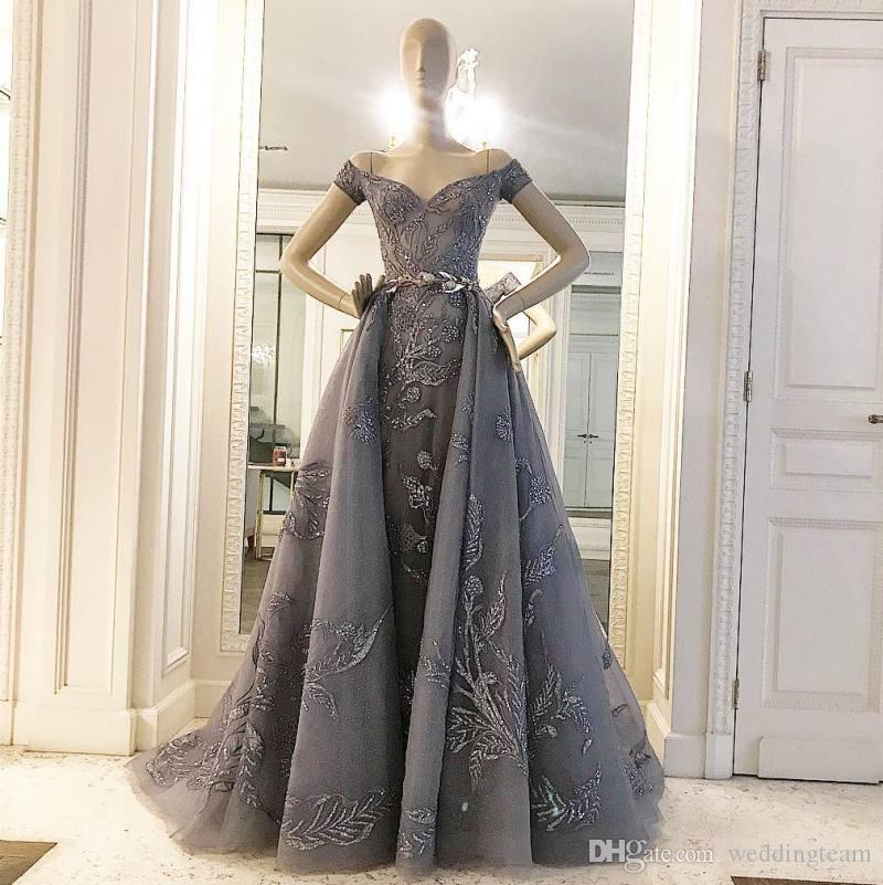 Zuhair Murad Overskirt Evening Dresses With Short Sleeves Beaded Off The Shoulder A Line Sequined Prom Gowns Sweep Train Tulle Formal Dress