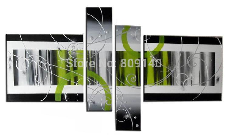 stretched abstract oil painting canvas green grey black modern