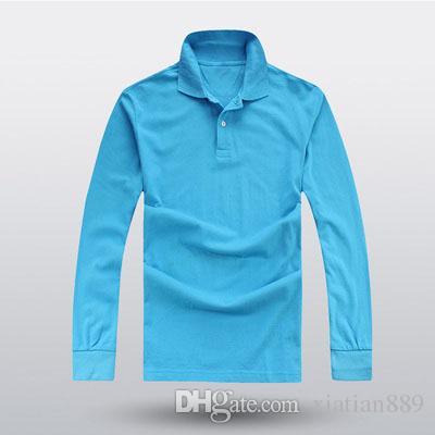 2018 neue hochwertige Baumwolle Herrenmode lose Männer Casual POLO Shirt Langarm plus Größe Revers Shirt