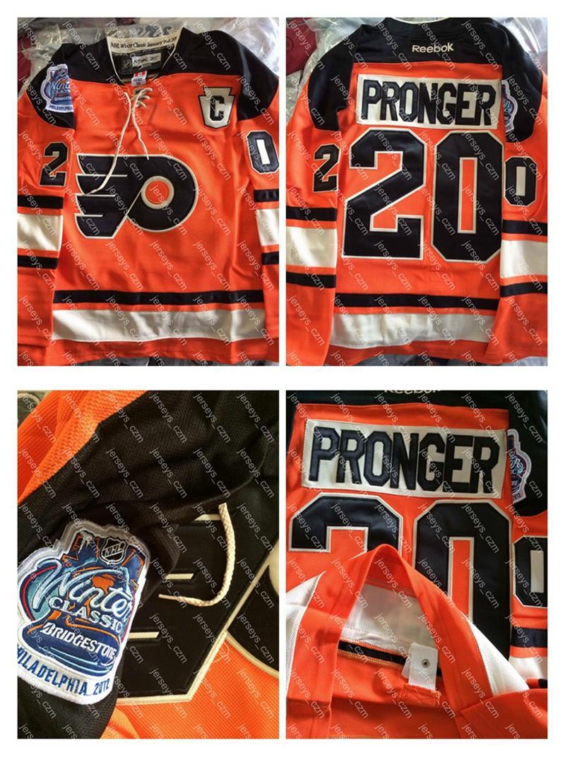 e71040ab8 ... 2017 Mens 20 Chris Pronger 2012 Winter Classic Embroidery C Patch Logos  Orange Black Philadelphia Flyers ...