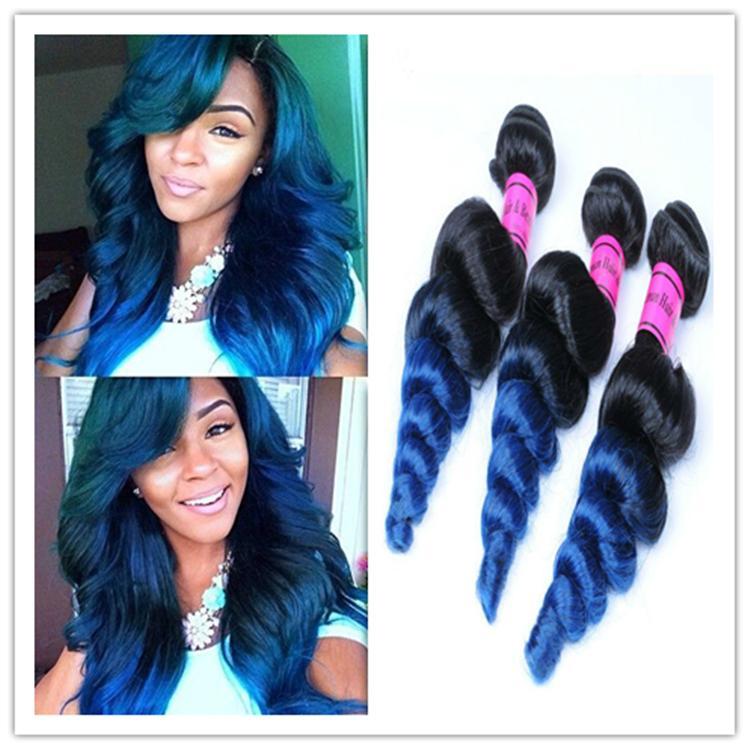 Ombre Blue Virgin Hair Loose Wave Two Tone Ombre Brazilian Hair