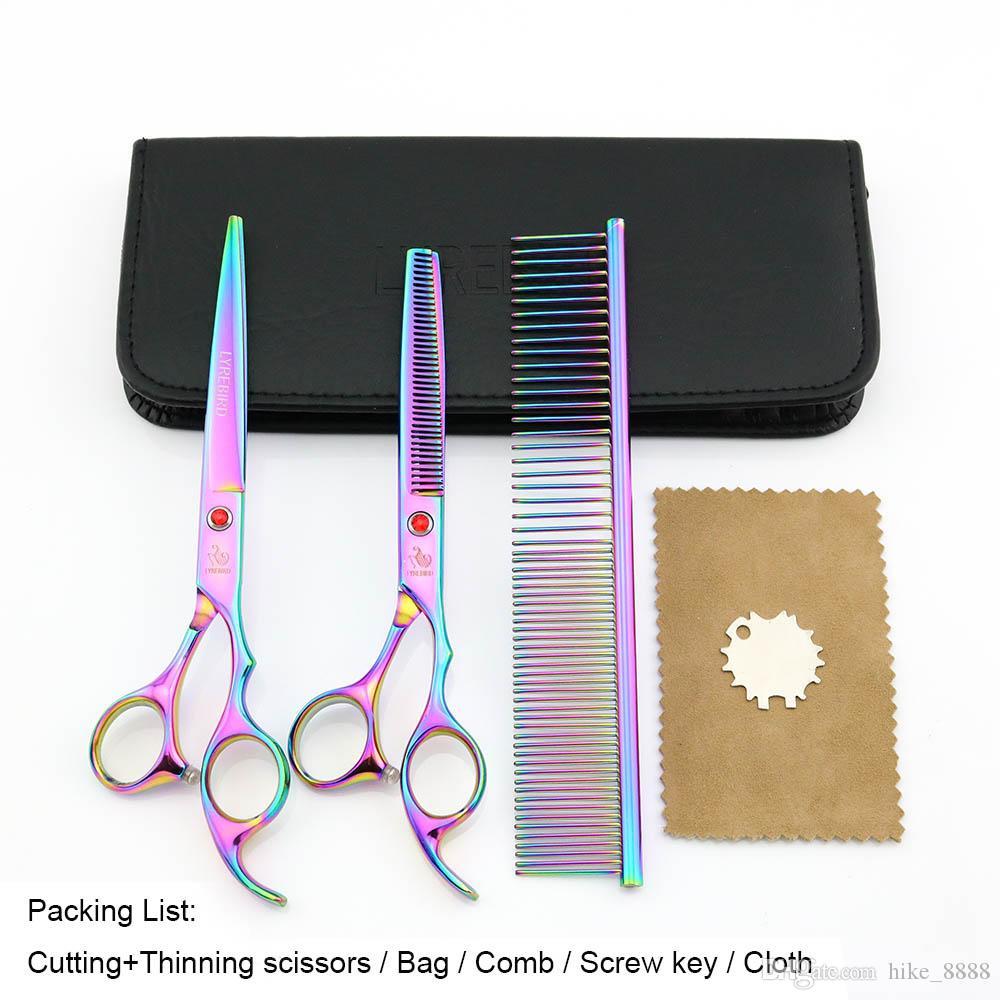 Tijeras para el pelo 7 PULGADAS Tijeras para cortar 6.5 PULGADAS Tijeras para adelgazar LYREBIRD Tijeras para el aseo Rainbow Dog NUEVO