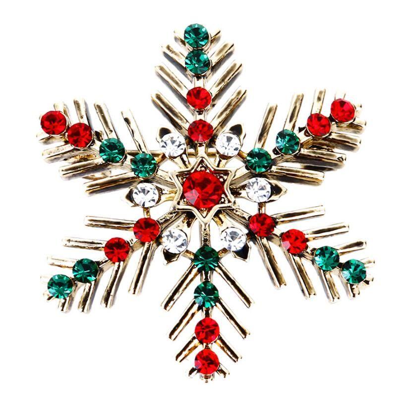 Retro Christmas Snowflake Brooch Colorful Crystal Rhinestone ... 697ee2f5e9ca