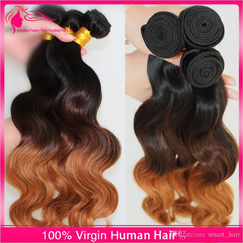 7A Grade Malaysian Ombre Hair Extensions 1B/4/30 Ombre Human Hair Weaves 3 Bundles Lot 10-30 inch Body Wave Ombre Hair