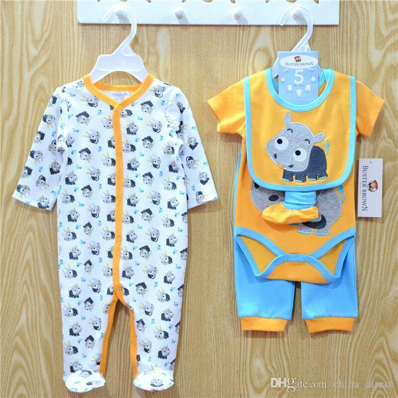 2016 Säuglinge Baby Baumwolle Bodysuits Strampler Jungen Mädchen Bodysuits + Hose + Hut + Socken = Lätzchen 5 stücke Set Baumwolle Babys Kleidung 8 Farben # 3867