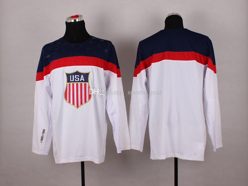Online Cheap 2014 Winter Olympic Team Usa Hockey Jersey White National Team  Jerseys Hot Sale No Name Number Blank Ice Hockey Jerseys Athletic Jersey By  ...