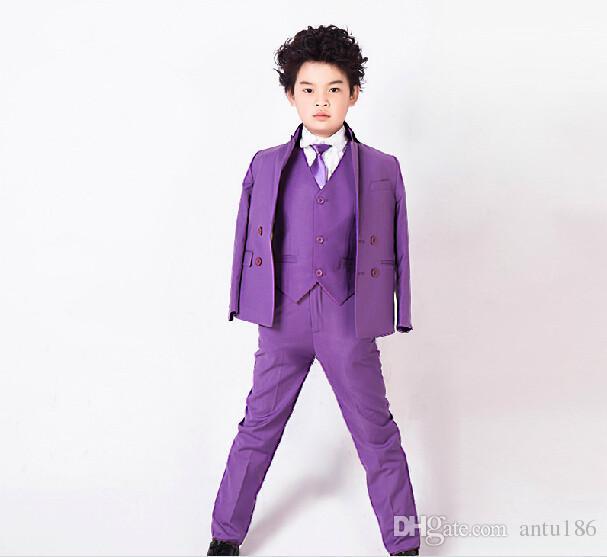 Çocuk takım elbise ceket Saf renk erkek çocuk takım elbise Erkek çiçek kız elbise baharyaz 3 parça ceket + pantolon + yelek ...