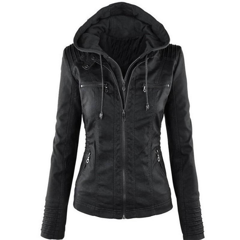 Women Jackets Female Faux Leather Jacket Long Sleeve Hat Removable ...