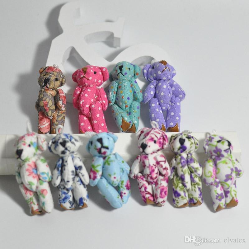 Bluk 4.5cm Cloth Joint Small Teddy Bear Pendants miniature bear Key chain/Phone/Bag/Bouqeut jewellery accessory gift Soft Dolls