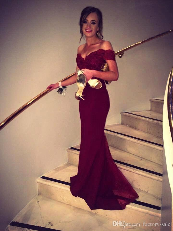 Burgundy Prom Dresses Fancy New Off Shoulder Fiesta Lace Bodice Cap Sleeves Formal Evening Dresses Backless Cheap Bridesmaid Gown C211