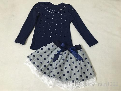 Girls Tops Skirts Clothing Sets Autumn Blue Sequins Long Sleeve T-shirts Dot Bow Lace Skirts Suits Children Kids Cotton Clothes Outfits