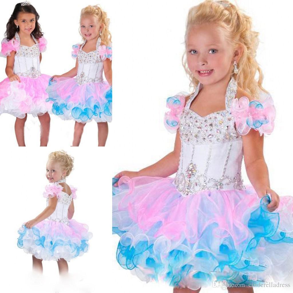 2020 Güzel Halter top elbisesi organze kek pembe beyaz çiçek kız elbise BO6002 boru Mini glitz yarışması elbiseler sırtı açık kristal boncuklar