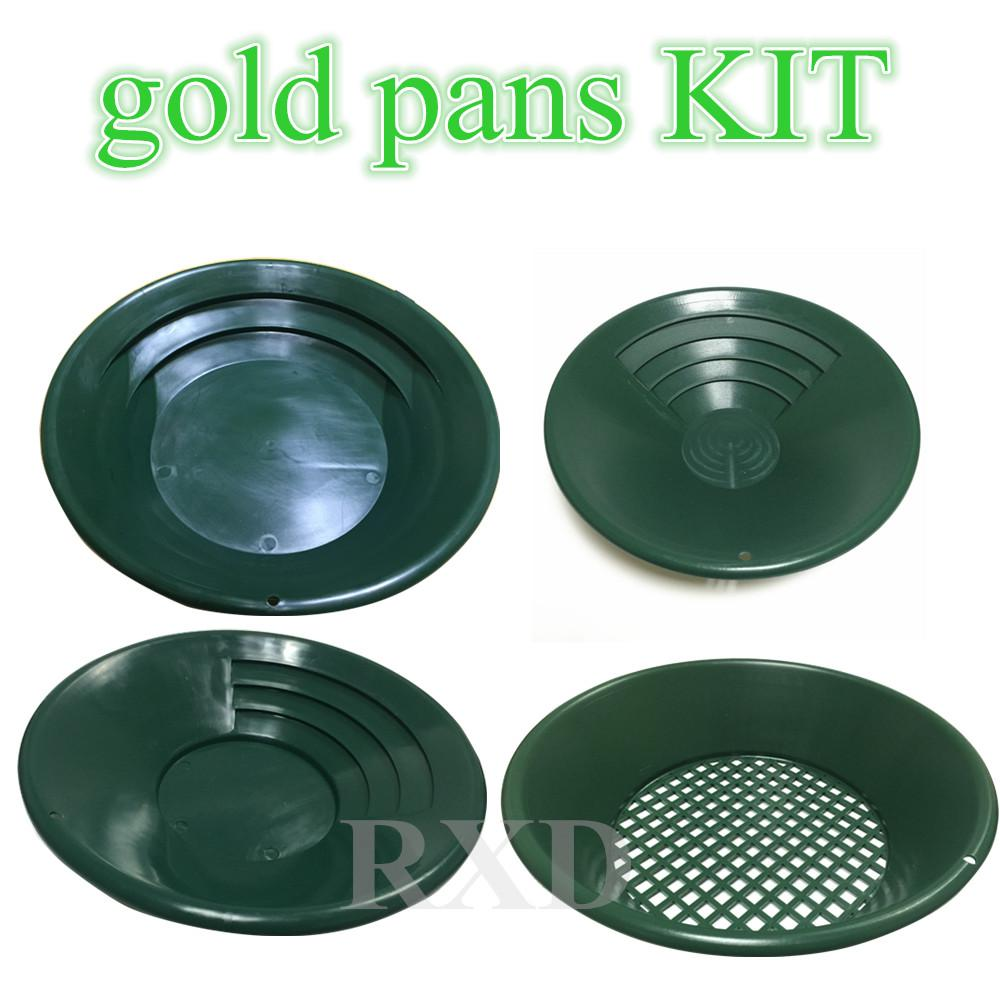 Freeshipping Gold Rush Sifting Classifier Screen Pan kit underground metal  detector Supporting tools kit Complete Gold Panning