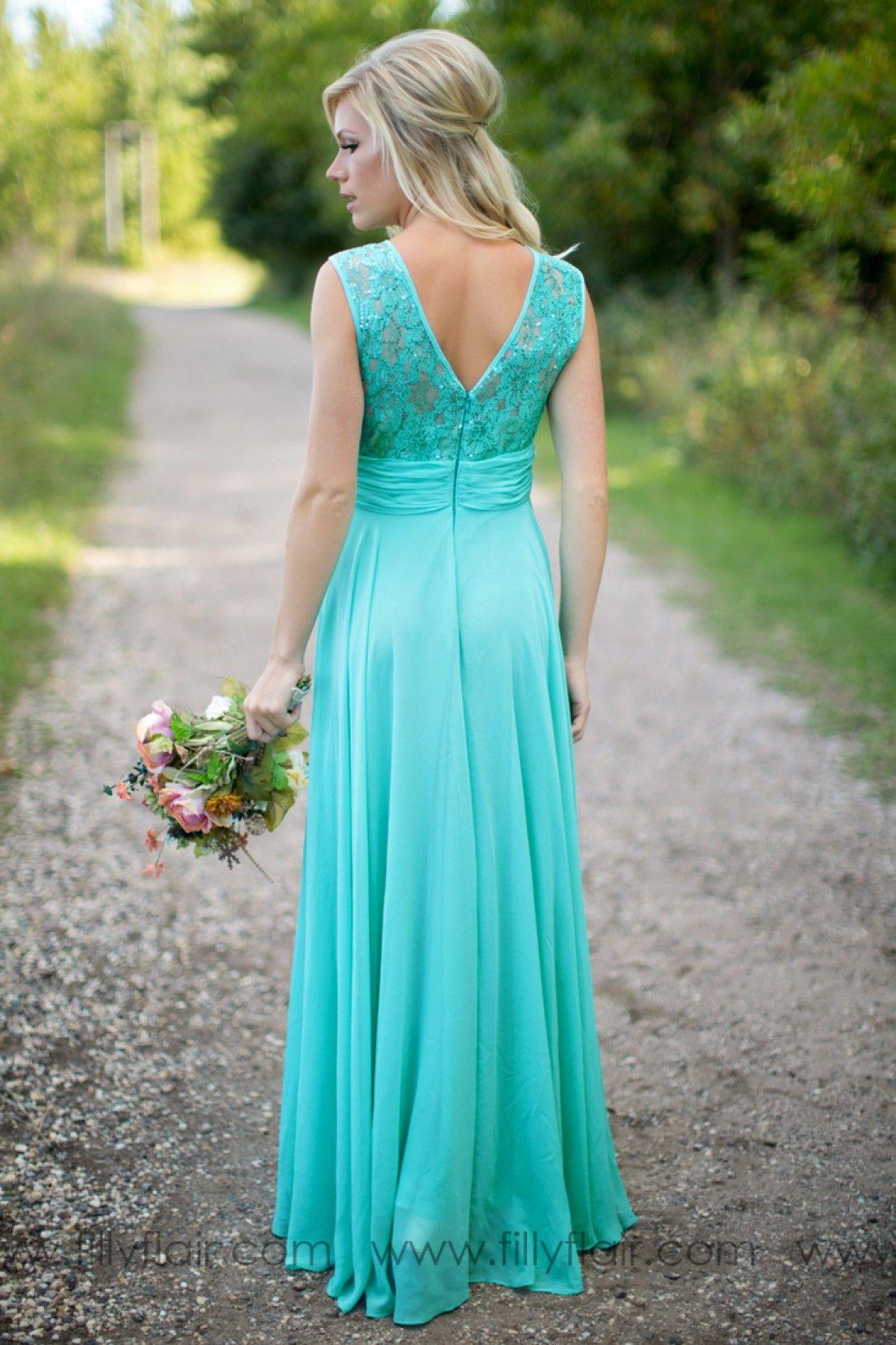 2019 Бирюзовые платья невесты Прозрачный шею с драгоценными камнями и кружевным топом Шифон Длинные платья подружек невесты Свадебные платья для подружек невесты