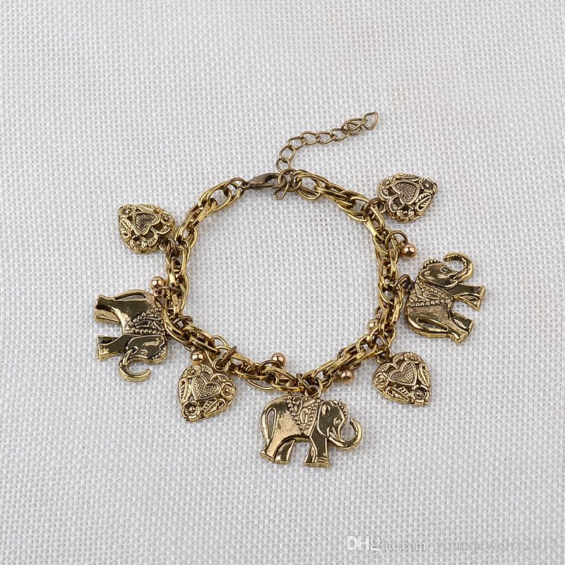Heart Charm Bracelets High Quality Gold Silver Love Heart Elephant Charm Alloy Bracelet Bangle Fashion Jewelry