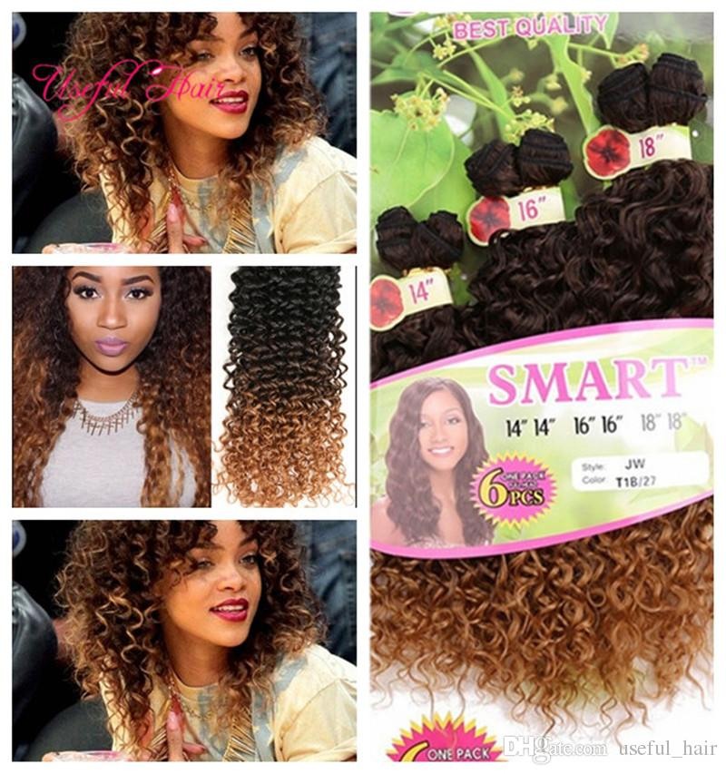 synthetic hair EXTENSIONS SMART BEST QUALITY ombre color WEFT 6PCS/PACKETS Jerry curl crochet hair extensions crochet braids hair weaves
