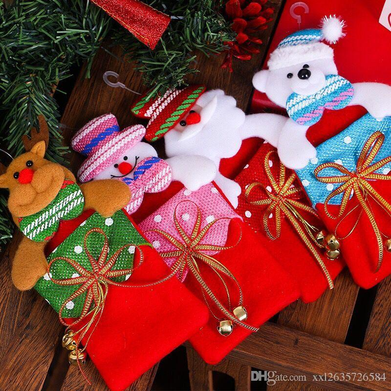 2018 Santa Claus Gifts Hanging Christmas Gift Decorations Fabric ...