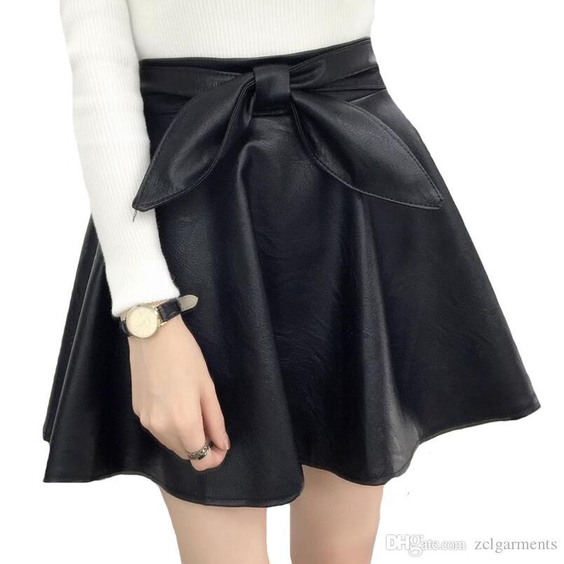 3d0c5024b Falda Corta Señora Casual Fashion PU Leather Skirt Mujer Gruesa Negro  Vestido de Bola Faldas de Invierno Más Tamaño