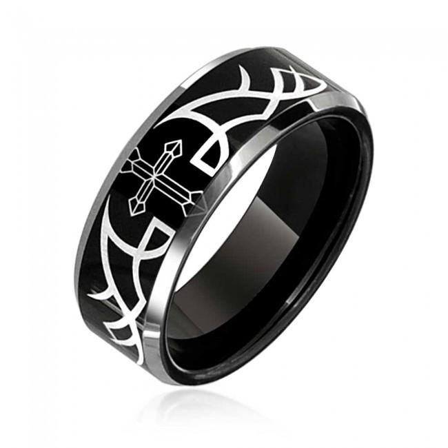 Online Cheap Hot Sell 8mm Mens Laser Etched Thorn Cross Ring Black