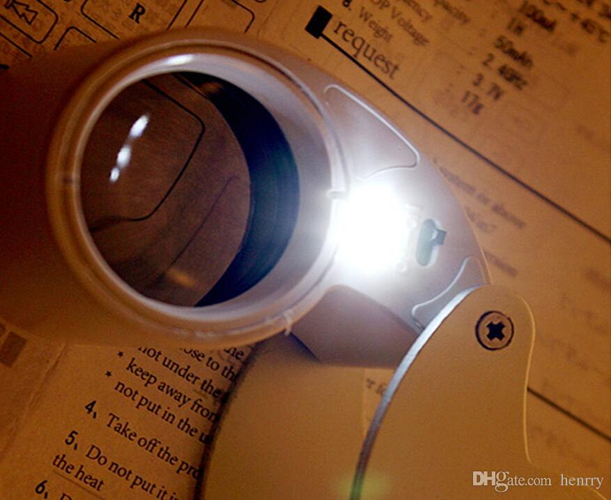 40 times the magnifying glass with led lights a bag, jade jewelry loupe identification testing, portable 40X25mm Illuminated Magnifier