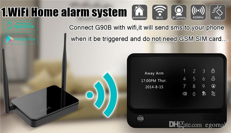 APP Control Power Socket Wireless Intruder Burglar Security wifi GSM Alarm System G90B with Wireless Smoke Detector
