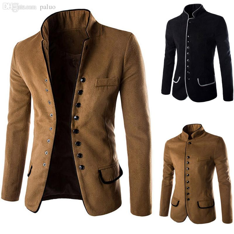 Fall New Pattern Sping Autumn Winter Man Stand Collar Many Buttons New Mens Blazer Pattern