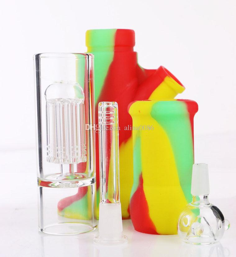 "New Arrival Silicone Bong 14"" glass 8 arms percolator glass bong water pipes silicone bongs water pipe"