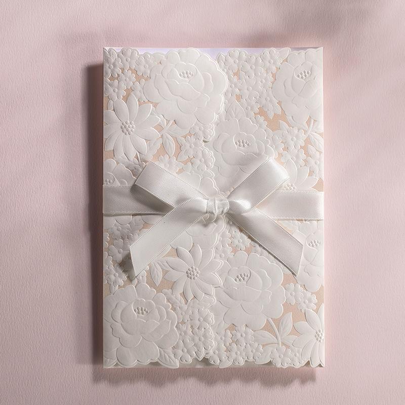 2016 Elegant Embossed Flower Wedding Invitation White Lace Bow ...