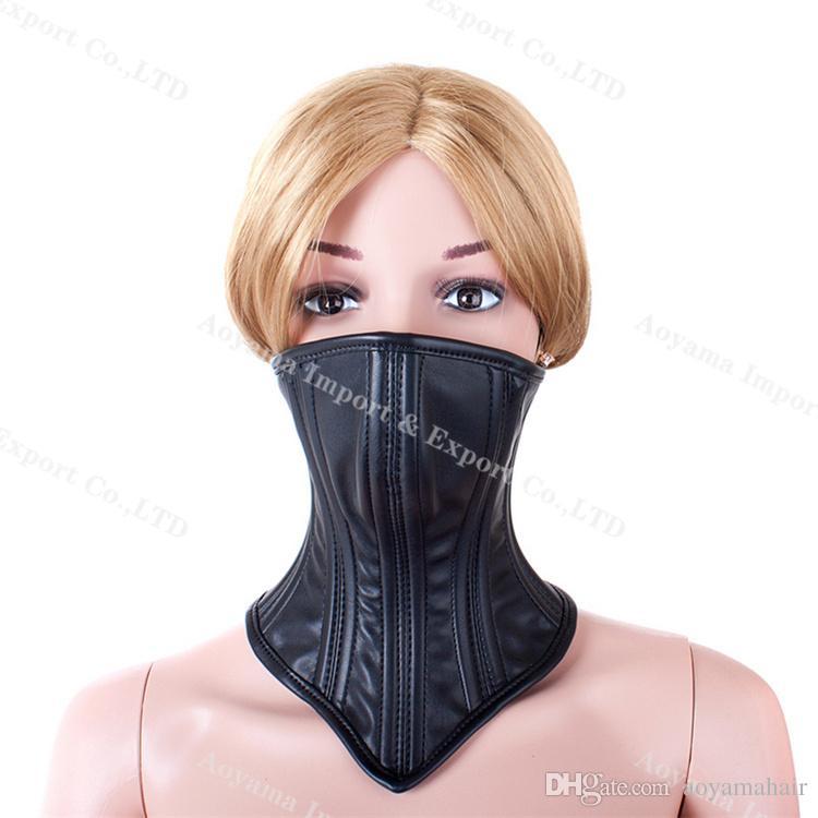 Girl in bondage mask giving head