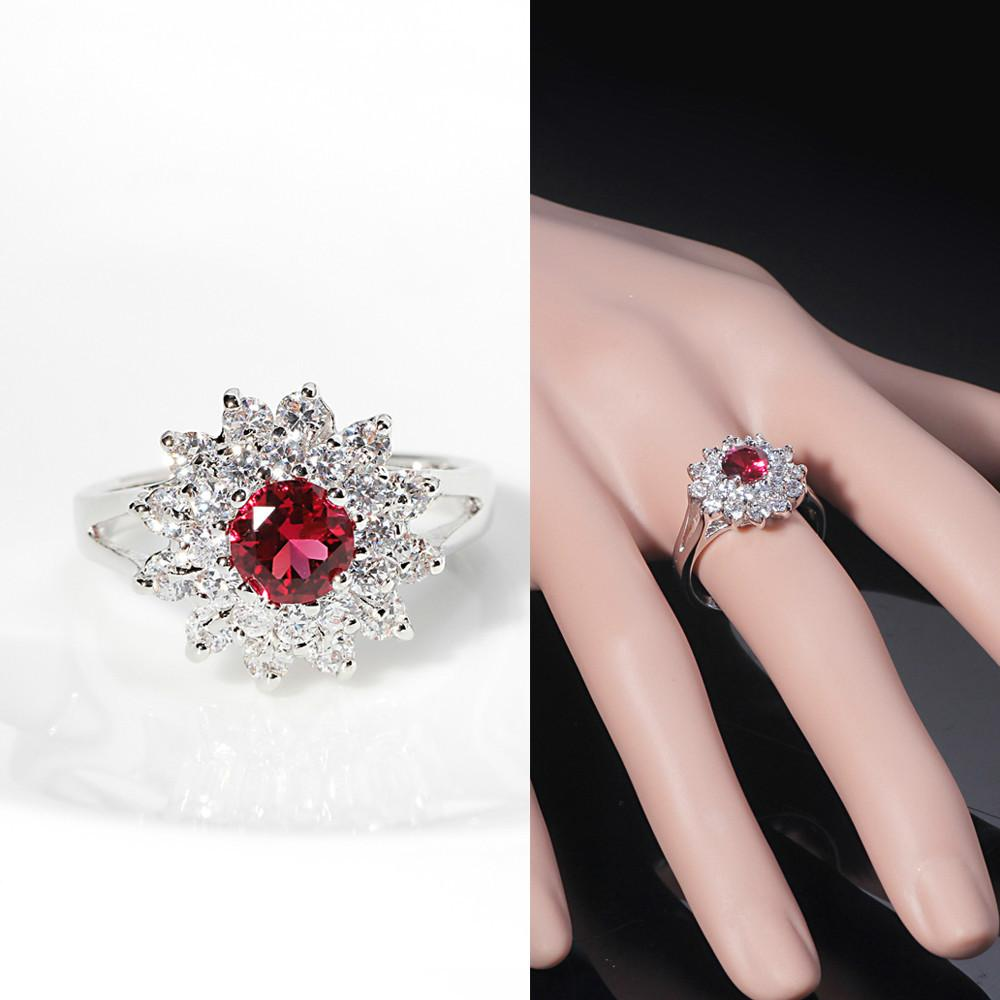 Rom Round Red Ruby Ring Luxury Princess Simulated Diamond Ring ...