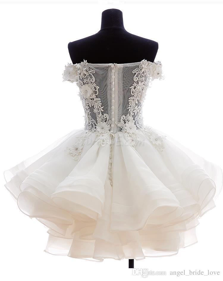 2019 New Lovely Curto Homecoming Vestidos Querida Flores Organza Graduação Dresse Party Prom Vestido Formal WD179
